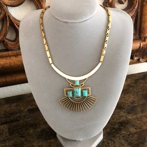 Stella & Dot Gold and Turquoise pendant necklace